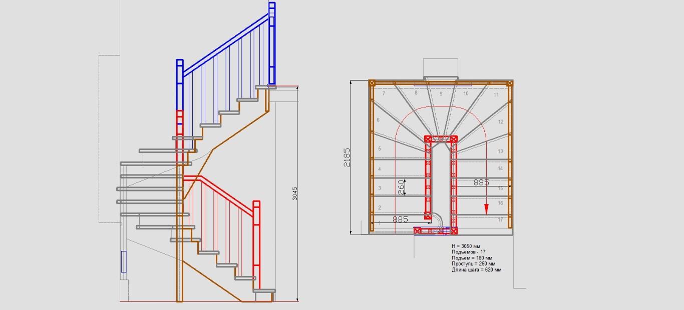 Лестница своими руками с поворотом на 180  401